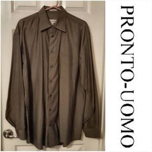Pronto-Umo Men's Long Sleeve Oxford Dress Shirt